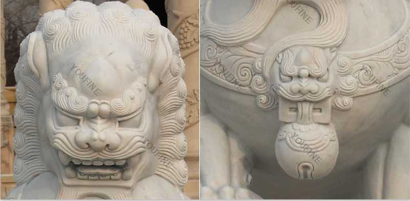 life size marble fu lion statue for sale
