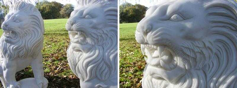 life size white marble lion statue for sale