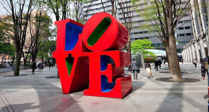 love park at new york love sculpture font