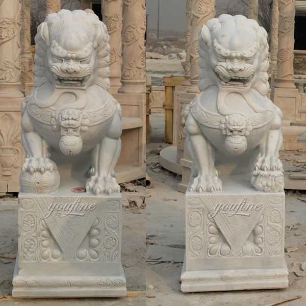 marble foo dog lion statue for front porch for sale