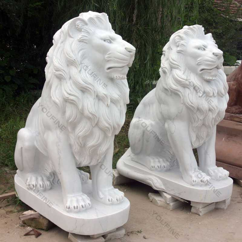 marble stone lion statue in pair outside for front decor