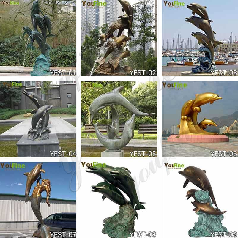 modern bronze dolphins fountain for outdoor