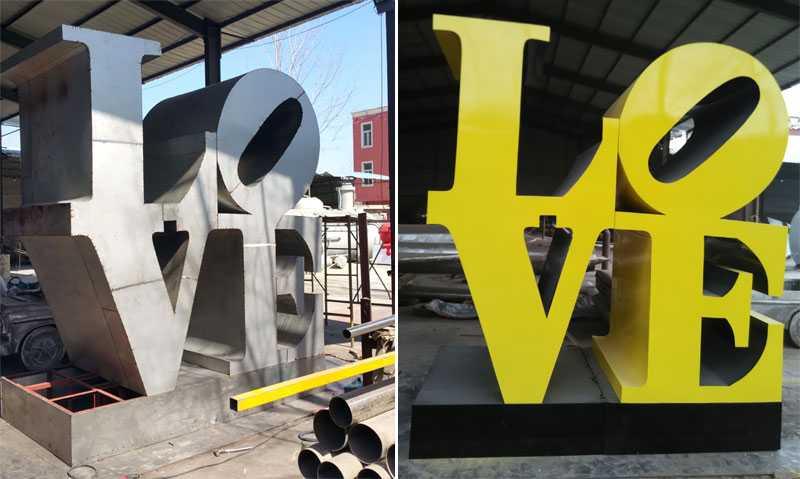 modern metal art sculpture LOVE design