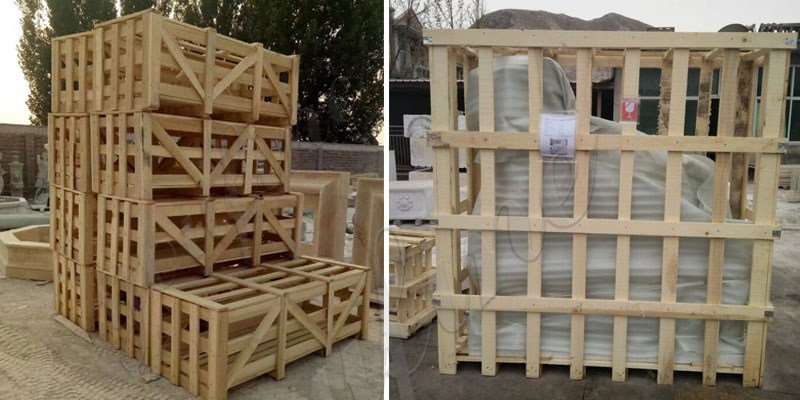packing of marble elephant statue