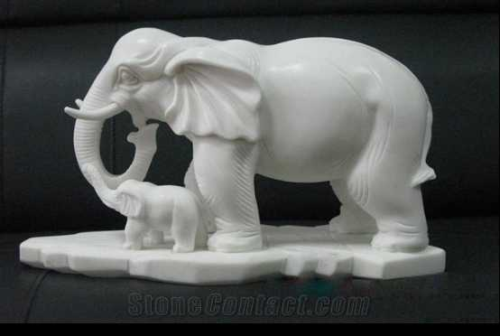 Hand Carved Natural Stone White Marble Mother and Child Elephant Sculpture MOKK-324