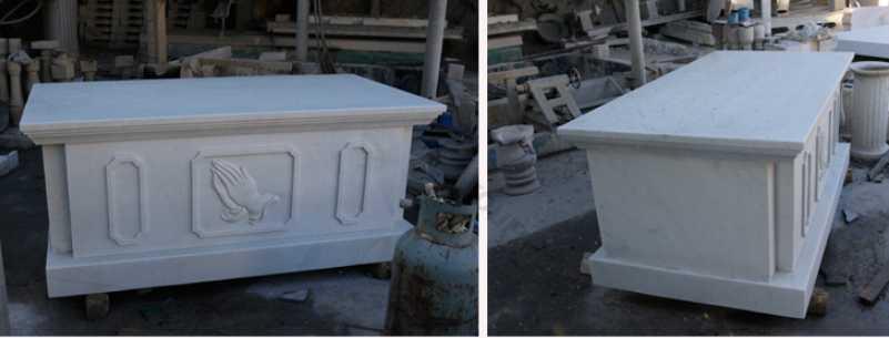 white marble altar details