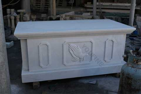 Catholic Church Custom White Marble Altar Table with Hands