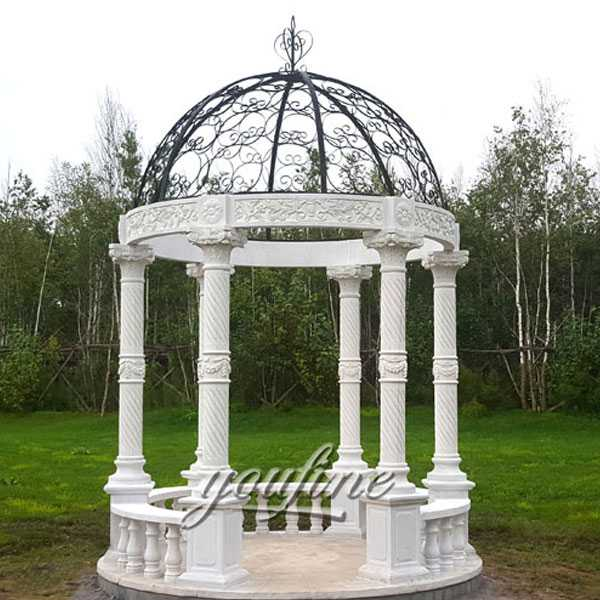 white marble gazebo lawn ornamental for sale