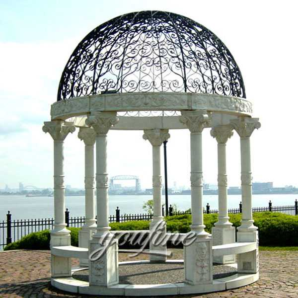 white marble gazebo with iron dome lawn ornamental for sale