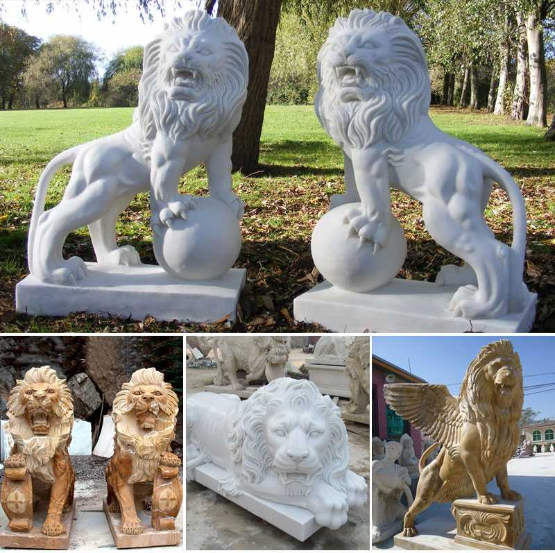 white marble stone-lion-statues