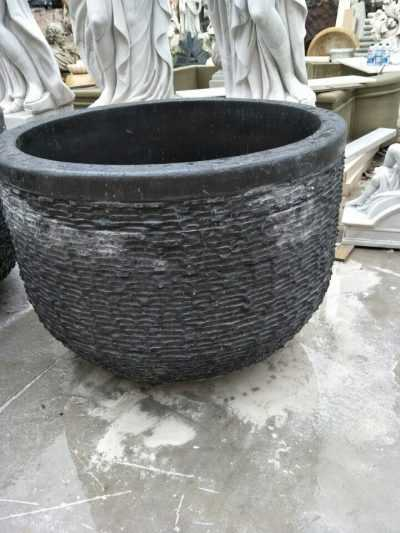 Round Black Marble Freestanding Bathtub for American Clients