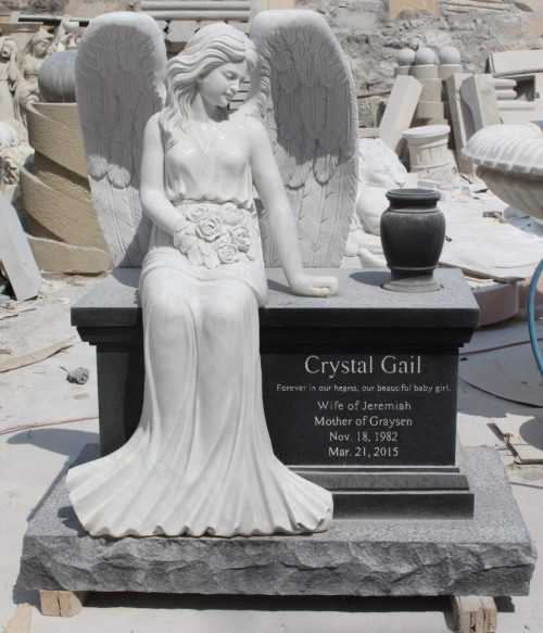 Marble Angel Headstone for France Clients Bernard
