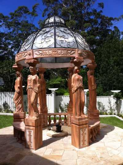 Sunset red marble gazebo with woman statue column for Australian clients