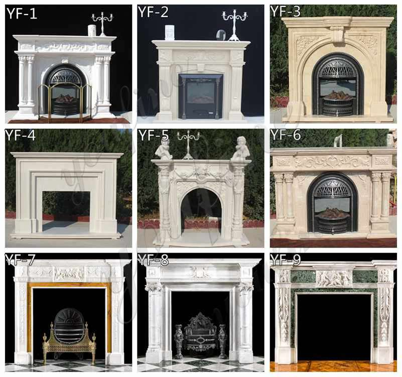 Hand Carved White Marble Victorian Fireplace Mantel