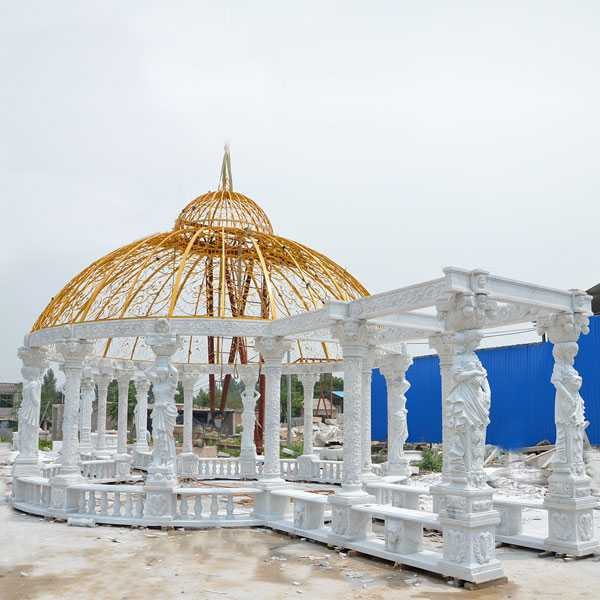Outdoor Decorative White Marble Large luxury Gazebo with Woman Statue for Our Australian Clients–MOKK-32