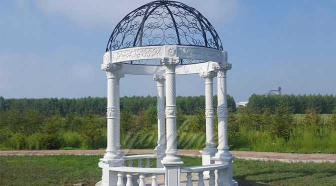 Outdoor Modern European White Marble Gazebos For Sale