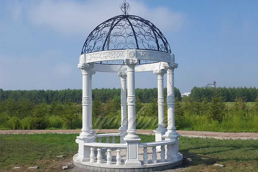Outdoor Modern European White Marble Gazebos For Sale You