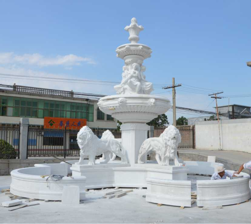Poland Client Ordered White Marble Lion Water Fountain