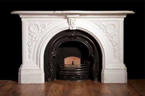 Hand Carved White Marble Victorian Fireplace Mantel You Fine Sculpture
