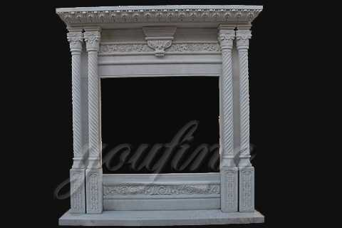 White Marble Material Contemporary Fireplace Designs by Hand Carved