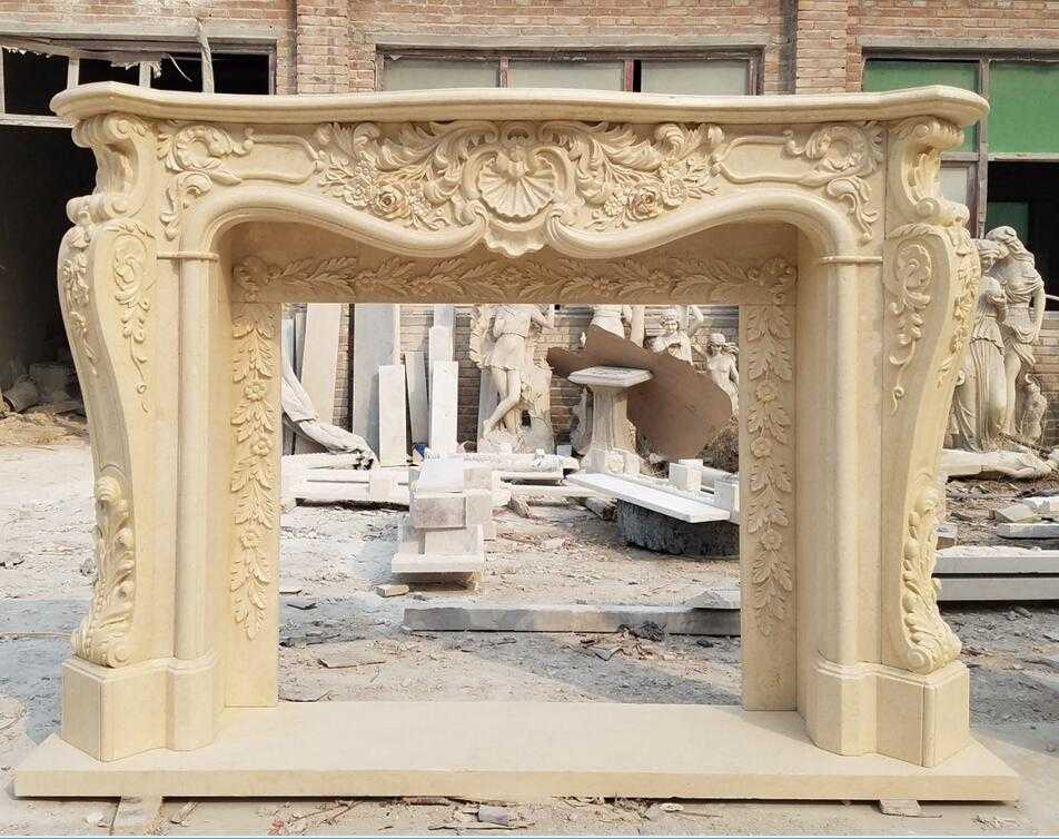 Beige Marble Fireplace Mantels for US Clients