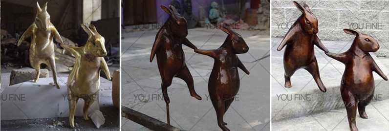 garden decor Bronze Rabbits Sculpture for Our Zelanian Client