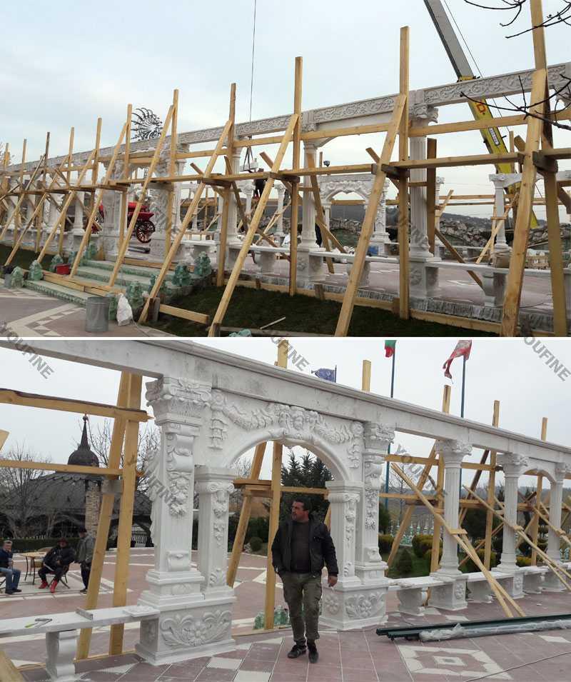 large white marble gazebo installation