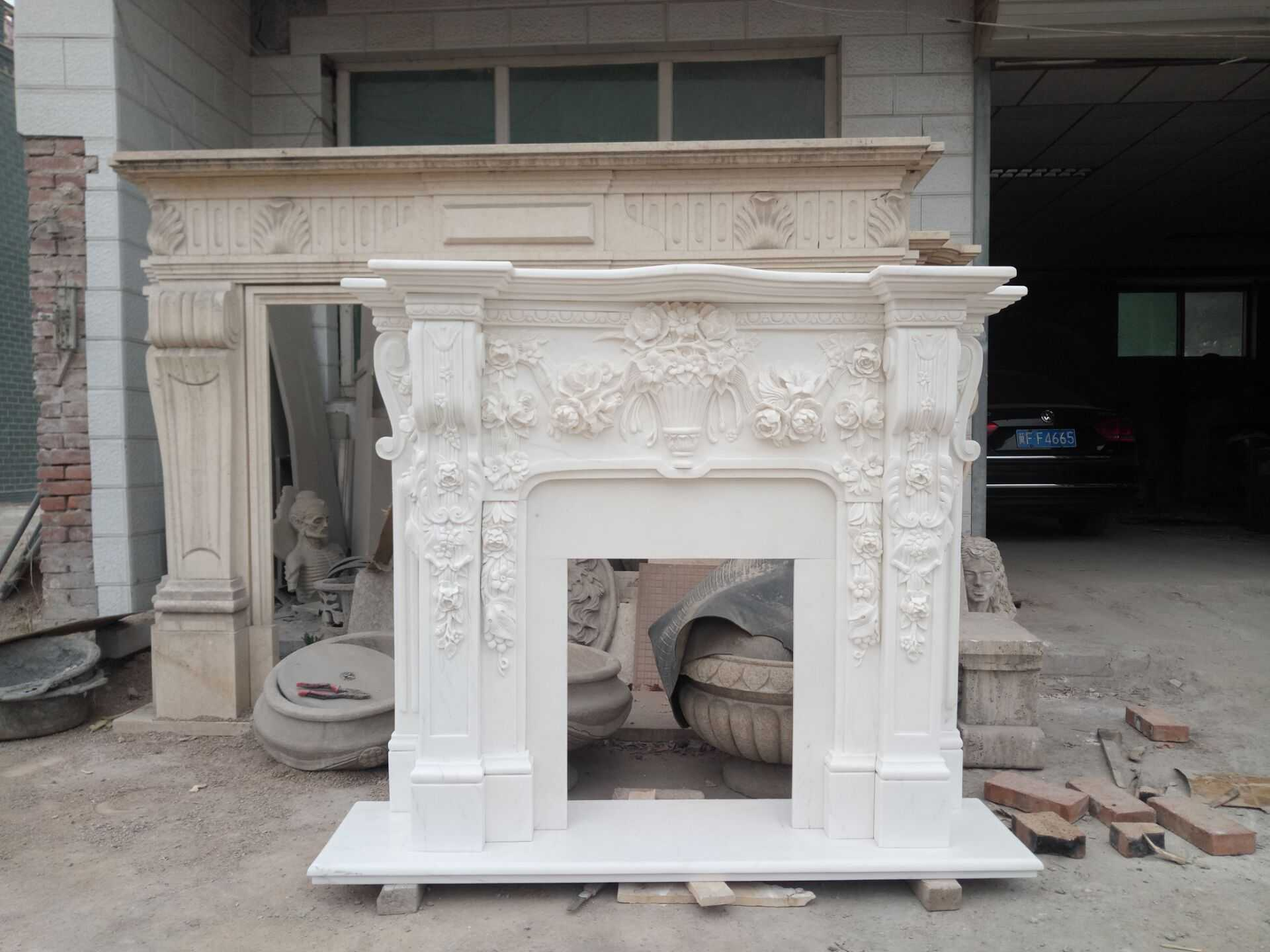 The White Marble Fireplace Mantel for Australian Client