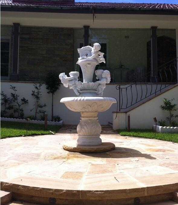 Garden Marble Angel Water Fountains and Gazebo for Australia client