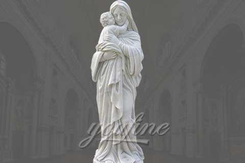 Outdoor Large  Mary and Baby Jesus Marble Statue