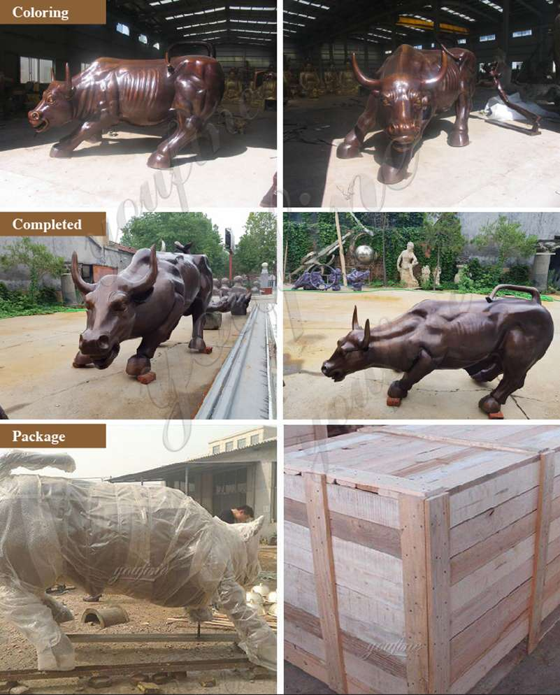 Bronze Wall Street Bull statue