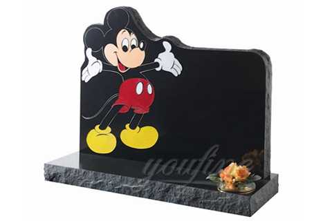 Customized Black Granite Mickey Mouse Shaped Headstone MHGH-10