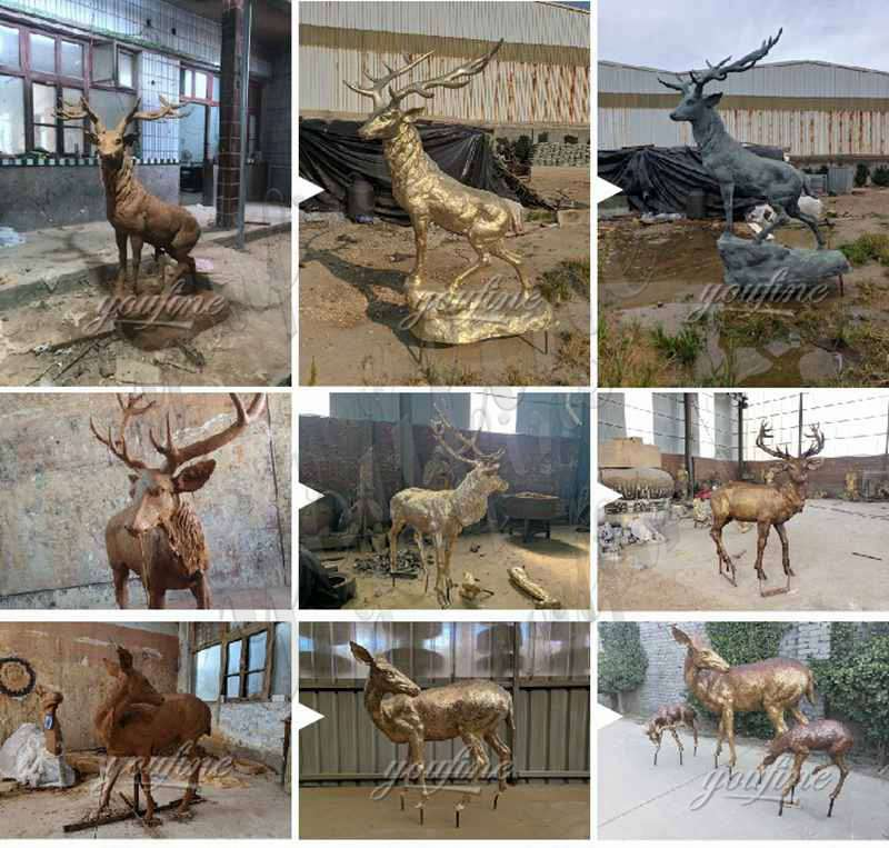 Decorative Outdoor Life Size Antique Bronze Deer Statues