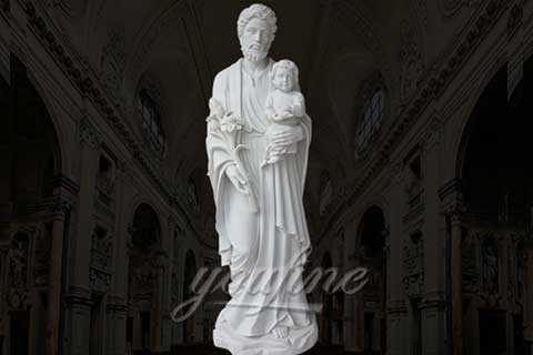Decorative Outdoor White Marble Carved Joseph with Baby Jesus Statue for Sale CHS-32