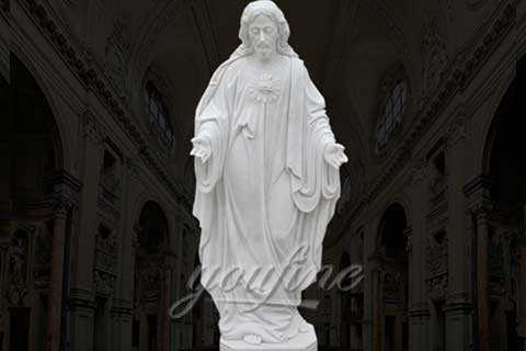 Hand Carved Natural Life Size Jesus Christ Statue in White Marble CHS-29
