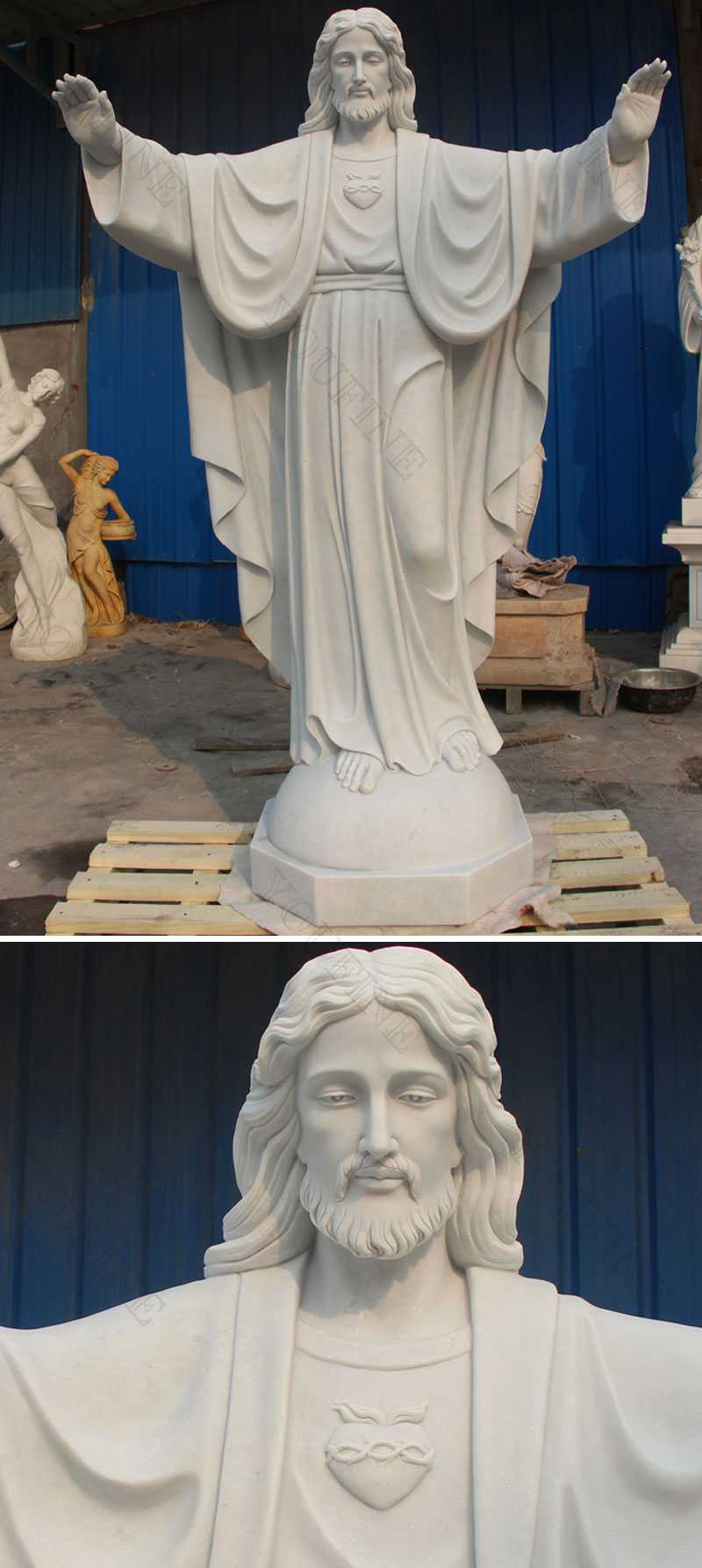 Large Hnad Carved Church White Marble Jesus Statue Open
