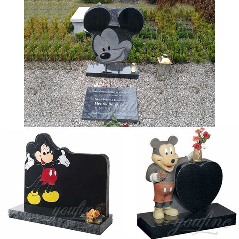 MHGH-10 Customized-Black-Granite-Mickey-Mouse-Shaped-Headstone