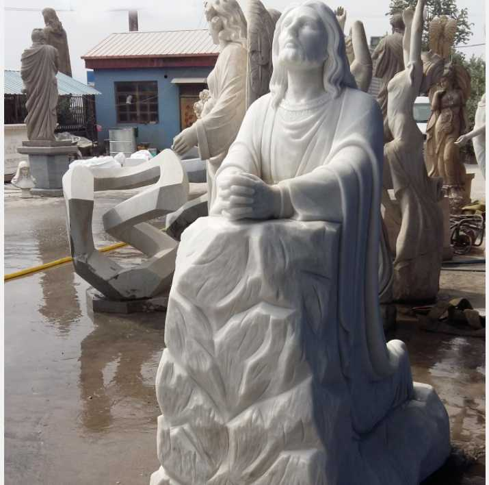 outdoor Marble Jesus Kneeling Statue for Australian Church