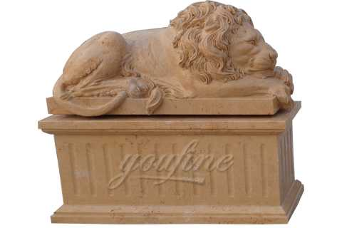 Garden Decorative Hand Carving White and Black Marble Lion Statue