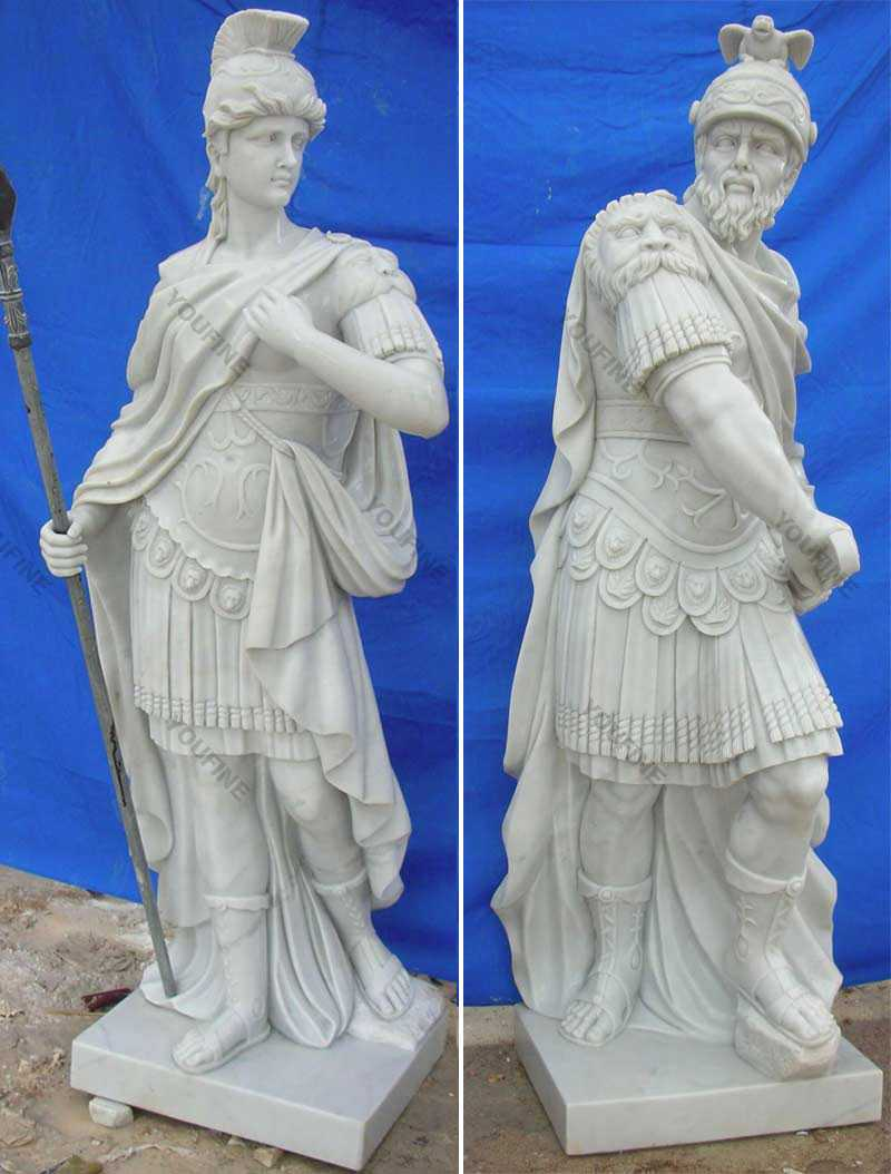 Marble warrior statues