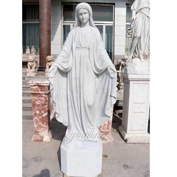 High Polished Hand Carved Mary Marble Statue for church