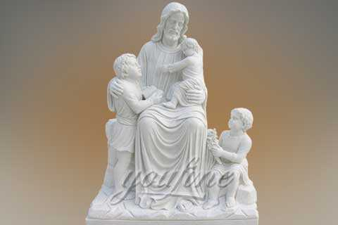 Outdoor Customized Life Size White Marble Jesus with Children Statue