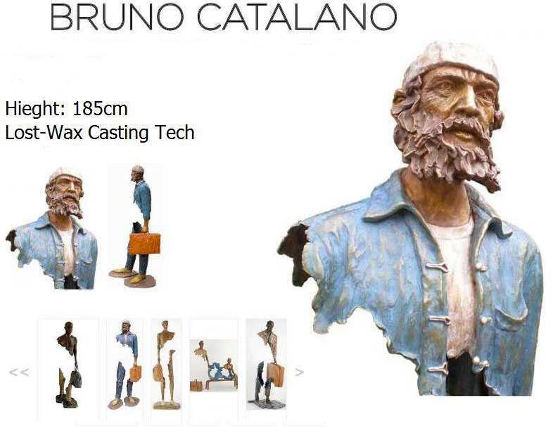 Outdoor Famous Bruno Catalano Abstract Bronze Traveler Statue