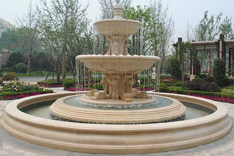 Park Essay Garden Yellow Water Stone Fountain