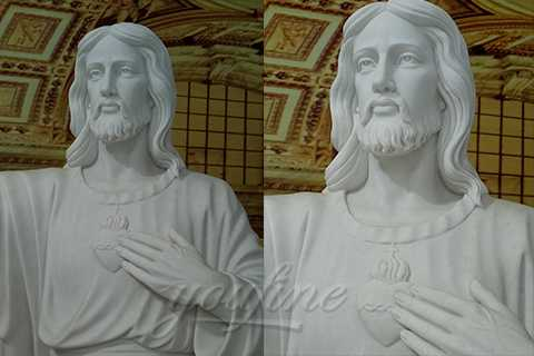 Religious White Marble Jesus Statues Sacred Heart Of Jesus