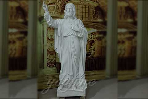 Religious White Marble Jesus Statues Sacred Heart of Jesus Statues for Sale