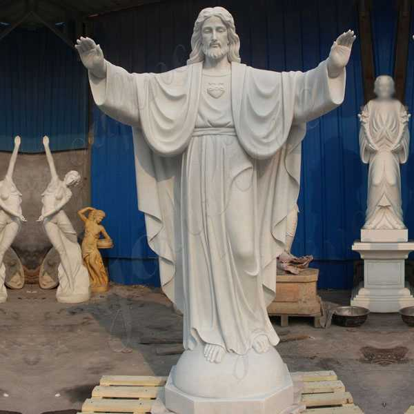 Large Hnad Carved Church White Marble Jesus Statue Open Arms for Sale CHS-18