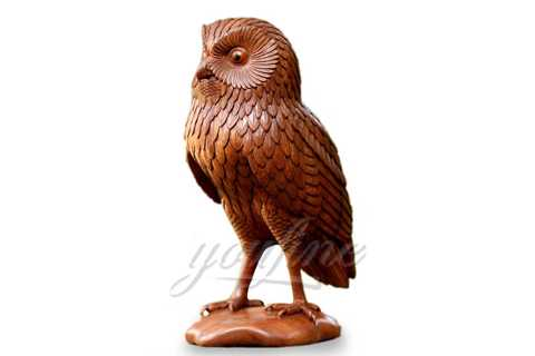 Desktop Decor Lovely Metal Crafts Bronze Owl Sculpture for Sale