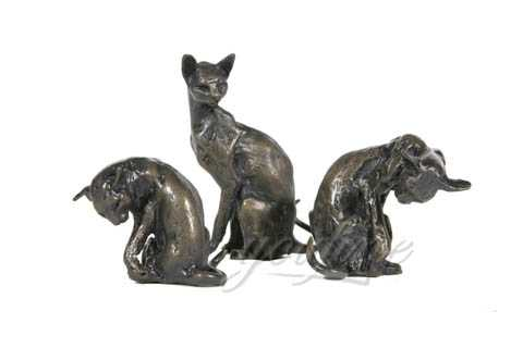 Metal Craft Lovely Bronze Cat Sculptures BOK-143