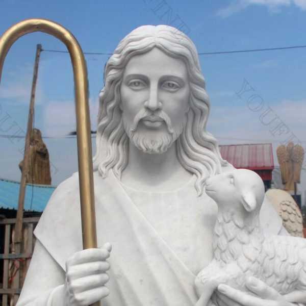 catholic sculpture Christ the shepherd statue